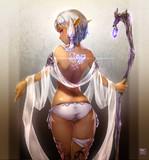 趣味絵エルフ_01 ダークエルフの娘・水の巫女