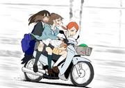 事務所までバイクでとばすトラプリ一行
