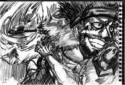 2B鉛筆で、トルネードスラッシュ想像して描いてみた。