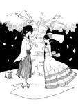 桜の相愛傘の下で
