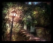 電灯のある廃墟