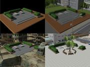 【MMD-OMF6】情景用アクセサリ「街角の休憩所」