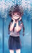 藤、雨、女子高生