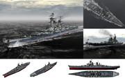 【MMD-OMF6】MMD用超弩級戦艦1945セット