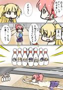 ボウリングに行く城ヶ崎姉妹の4コマ漫画描きました。