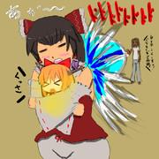 強敵の攻撃から娘を庇うワキガおばさん