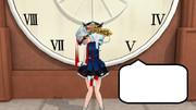 24時間ずっとこのポーズの映姫様。さてずっと見ていた時計は何を思った?