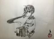 水墨画「着物曙ちゃん」