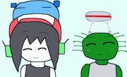 クォートの頭にクリッター、GUIMOの頭にEggy Robot