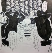 ユウサクバチとエムシバチに襲われるNYNバチの巣