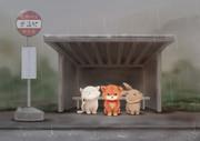 六月バス停雨宿り