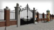 門と柵と広告塔