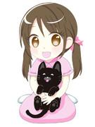黒猫を抱く少女(こじゆきとくろゆき)