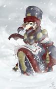 吹雪の中を歩む少女