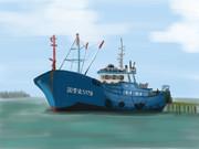 三角沖 密漁船