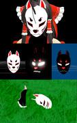 【MMD】先代巫女風の狐のお面 黒化や割れたり、光ったりも