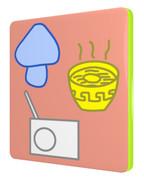 キノコ、ラーメン、ラジオの四角コースター