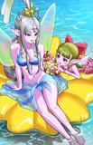 夏の海のヒメアとフウラ