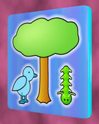 鳥、木、青虫の四角コースター