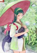 ずん子と雨とアジサイ
