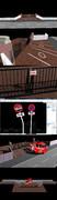 【MMDアクセサリ配布】学校門柱・駐車禁止標識セット