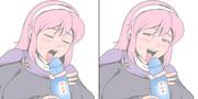 伝説の超ラムネを飲もうとするマリヤ