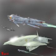 帝国宇宙軍艦隊旗艦型MAと航宙戦闘艇型MS