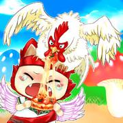 頭の鶏にピザ食べられるプクリポwww