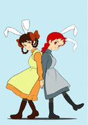 アンとダイアナうさ耳をつける