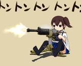 九二式重機関銃をご機嫌そうにぶっ放す加賀さん