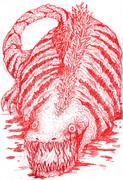 映画シン・ゴジラを見に行った興奮と勢いのまま赤鉛筆で第二形態ゴジラをかきなぐった(はずだった)2
