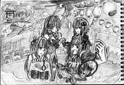 2B鉛筆で結月ゆかり描いてみた【その36】+琴葉茜+弦巻マキ+琴葉葵