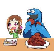 アボカドチーズバーガー食べるみちるとクッキーモンスター
