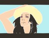 お絵かき6回目「漸進」|真夏の陽炎立つ自動車道路の上で今日もだるいなと感じつつ晴天を仰ぐ女性の絵