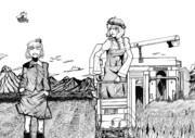 秋姉妹の稲刈り