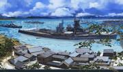 沖合いの古き街と艦船