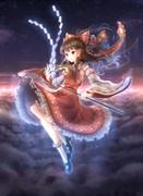 空を飛ぶ不思議な巫女