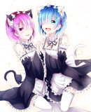 黒猫ラムと白猫レム