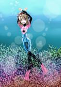 珊瑚礁と海中遊泳するみらいさん