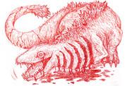 映画シン・ゴジラの第二形態ゴジラを改めて赤鉛筆でかきなぐってみた