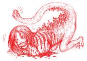 映画シン・ゴジラの蒲田のあのこを擬人化して赤鉛筆でかきなぐってみた
