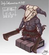 ほぼ毎日デフォルメ#158 山羊頭のデーモン