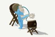 青龍さんが和太鼓を演奏(角度2)