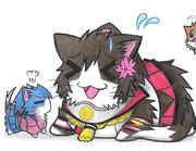 鳳翔ネコに怒られる大和ネコ