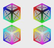 斜めのショートカットの中間色 (色立体)