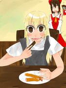 エビフライを食べるUDK姉貴