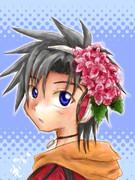 赤い紫陽花コサージュ