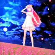 ピンクの花と 蒼の夜空