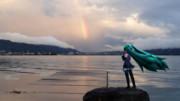 ちっちゃいミクと虹。