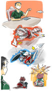 擬獣艦娘と紙飛行機